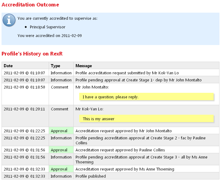 Profile published entry in profile history log